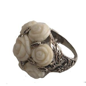 Rose Bud Carved Pearl Ring, 925 Sterling Silver